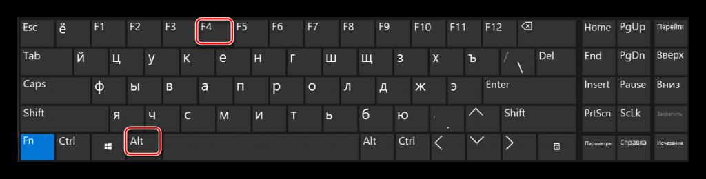 «Alt» и «F4» на клавиатуре